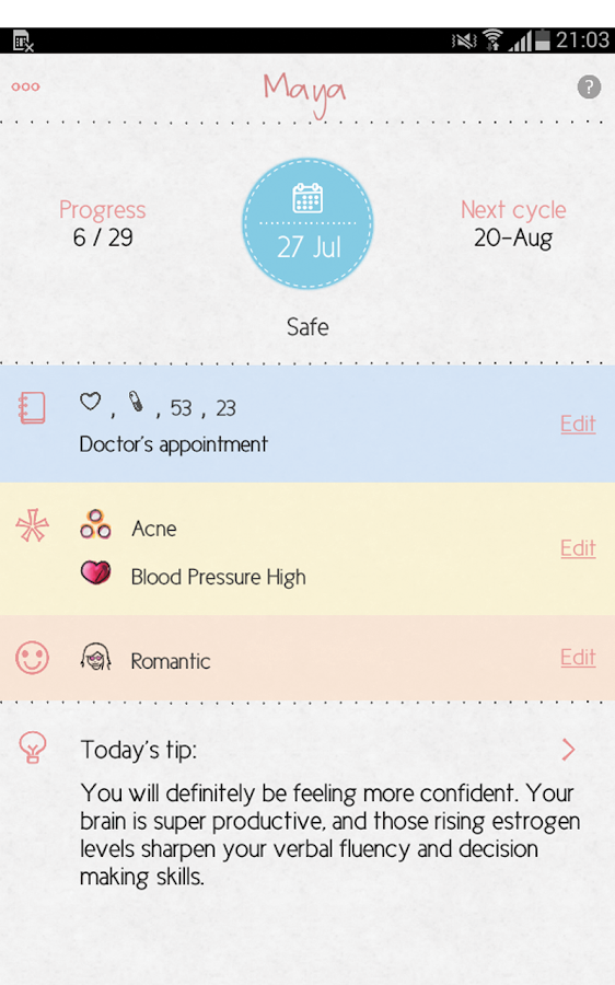 Maya - My Period Tracker- screenshot