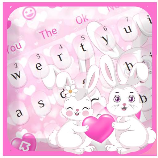 Cute Bunny Pink Love Keyboard