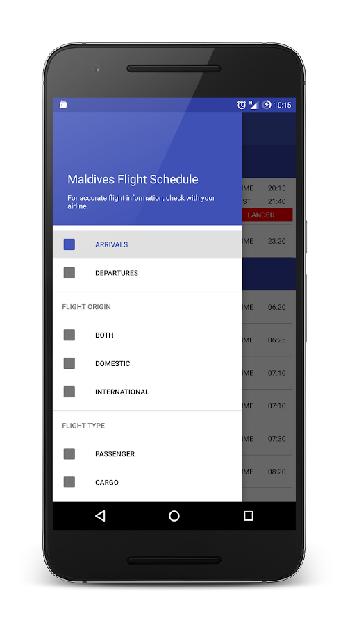 Maldives Flight Schedule- screenshot