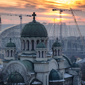 Cathedral by Gabi Radoi - Buildings & Architecture Public & Historical ( clouds, orange, houses, winter, sunset, stadium, snow, beautiful, trees, cathedral, construction, city )