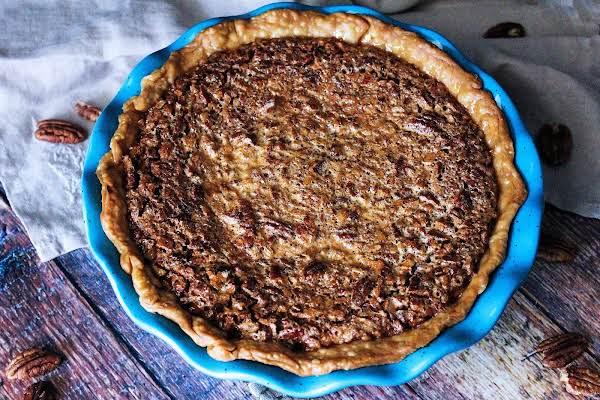 Bourbon Cheesecake Pecan Pie Ready To Be Sliced.