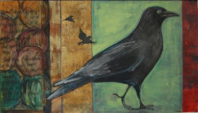 "Photo: Monstrous Crow, 16 x 28"", acrylic collage, thread"