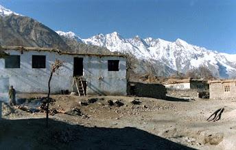 Photo: Farm house in Burdo Tayur village, Baltistan (Pakistan Northern Areas), below 5,000-meter peaks overlooking the Deosai Highlands, Dec. 1987.