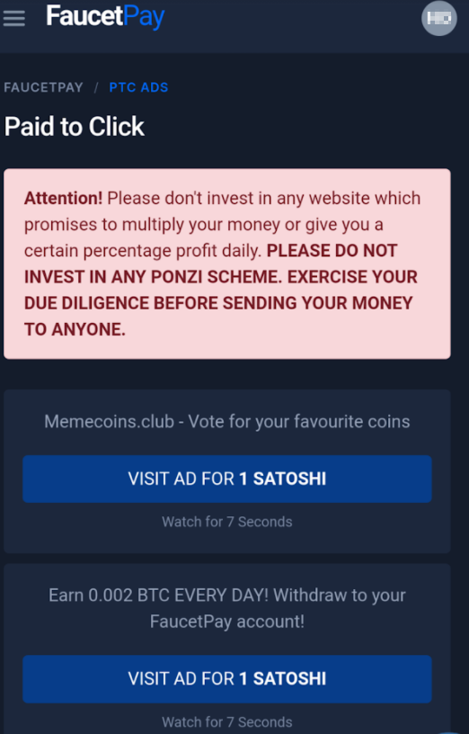 FaucetPay.io paid to click ads page