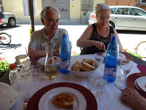Photo: The retired couple from Virginia now living in Florence. They took train to Lucca to just lunch with us. We have never met before.