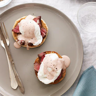 Steak and Eggs Benedict with Red Wine Hollandaise Recipe