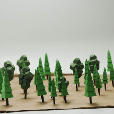 3d printing gallery image of hand-painted miniature trees made in sla resin on formlabs machine