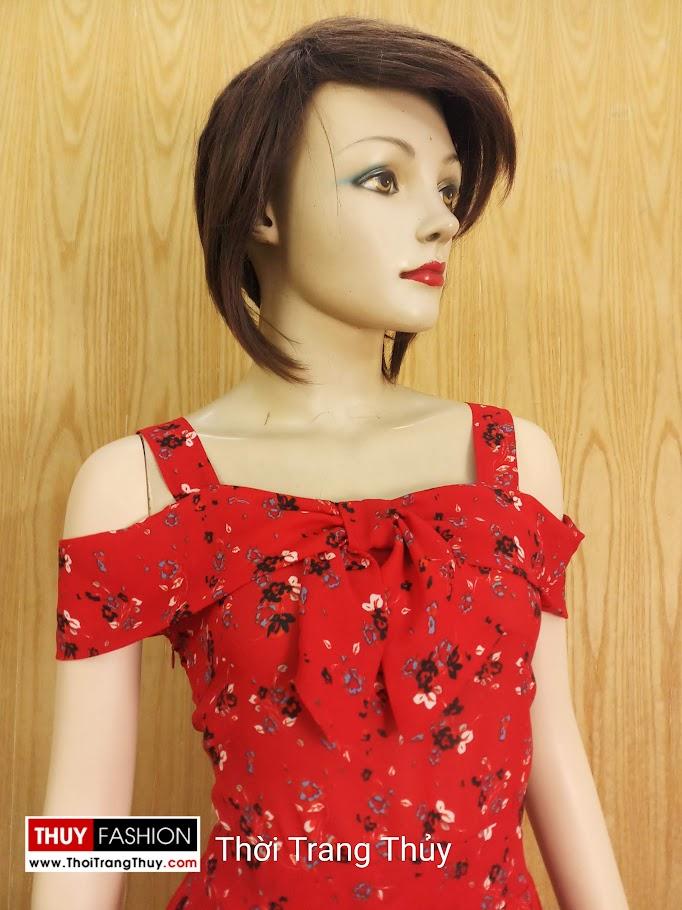 Váy xòe hai dây hở vai hoa nhí màu đỏ V685 thời trang thủy đà nẵng