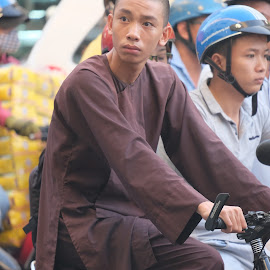 On the way by Beh Heng Long - People Portraits of Men ( monk, people )