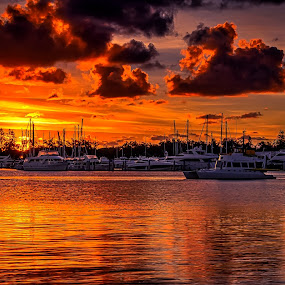 Hello Weekend !! by Alex Bogdan - Landscapes Sunsets & Sunrises ( water, clouds, orange, reflection, sky, textures, explosion, boats, moody, ocean, sunrise, coast, colours )