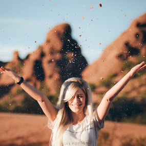Heads Up! by Bryan Snider - People Street & Candids ( mountains, papago, desert, park, female, buttes, arizona, action, candid, rocks, phoenix, portrait )
