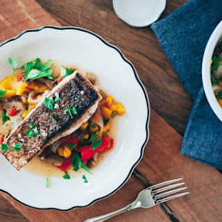 Crispy Sea Bass with Roasted Vegetables