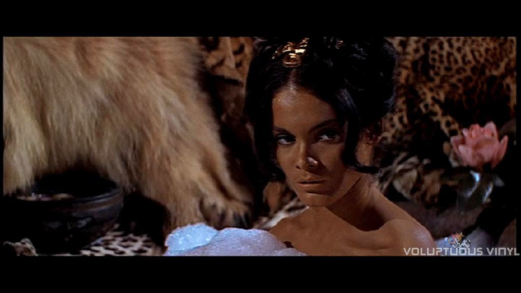 Martine Beswick taking a bubble bath in Prehistoric Women