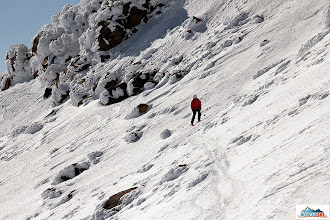 Photo: Aljona in the small traverse for better snow conditions