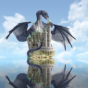 Reflective Dragon Castle by Charlie Alolkoy - Illustration Sci Fi & Fantasy ( clouds, reflection, sky, monster, wings, dragon, castle )