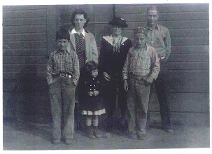 Photo: Three of four generations.  Back row, Helen Mary (WESTABY) MIDKIFF with her grandmother Rebecca Catherine (SNOOK) WESTABY and husband John Franklin MIDKIFF, Jr.  Front row, Norman, Carol and Troy MIDKIFF, children of Helen and John.  Taken c. 1944, probably in Mabton, Yakima Co., Washington.  Scan of an original photo in the possession of Troy MIDKIFF, Vancouver, Washington, 2007.