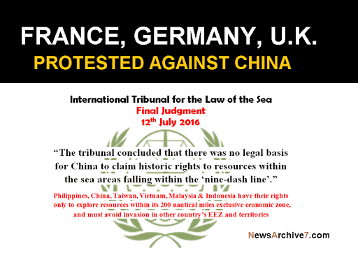 France, Germany & U.K. Protested China for Continuous illegal Occupation in Philippine's EEZ