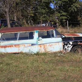 Oh the stories it could tell by Jody Czapla - Transportation Automobiles ( car, blue, retro, transportation, alone, antique, abandoned,  )
