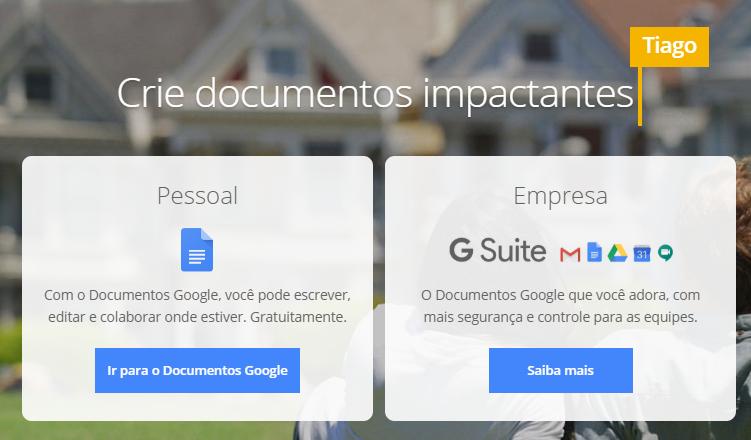 página inicial do Google Docs com slogan e CTA