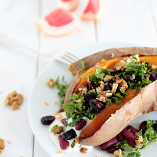 Kale and Cranberry Stuffed Sweet Potatoes