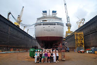 A Seabourn ship in dry dock
