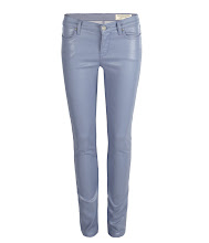 Photo: Petrel Brodie: Powder>>  UK>http://bit.ly/KXHi1b US>http://bit.ly/KXHf5F  A low rise extreme skinny fitting jean made using powder blue high shine coated stretch denim. The Petrel Brodie has a shorter inseam which twists to the back leg with zip detail at the hem. This style features a black laundered leather patch, signature profile stitch on back spade pockets, and signature AllSaints gunmetal metalwork.