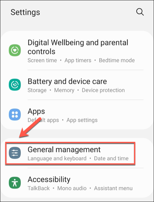 """In the """"Settings"""" menu, tap the """"General Management"""" option."""
