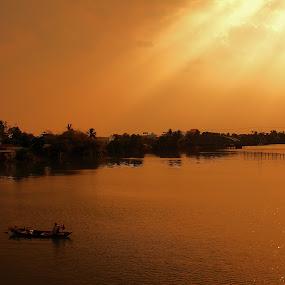 Sunset on river by Nguyen Huu Hung - Landscapes Sunsets & Sunrises