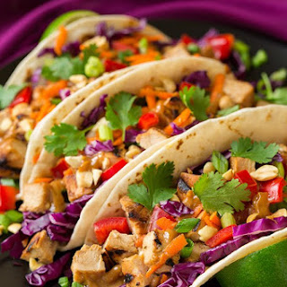 Thai Chicken Tacos with Peanut Sauce.