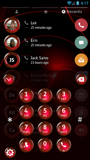 Spheres Red Contacts & Dialer Theme ss2