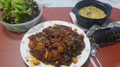 Photo: 쭈꾸미 삼겹 볶음과 김밥의 만남
