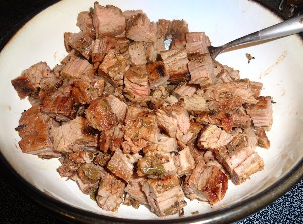 Chop the meat unto cubes and pour whatever juices came off of it onto...
