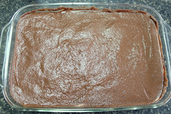 Pudding mix layered on top in baking dish.