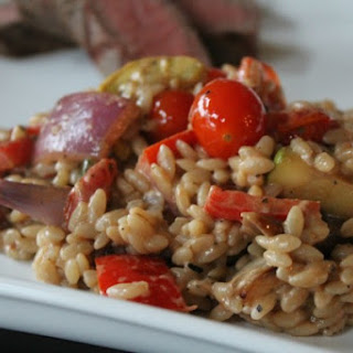Grilled Vegetable Orzo with Goat Cheese & Balsamic Dressing