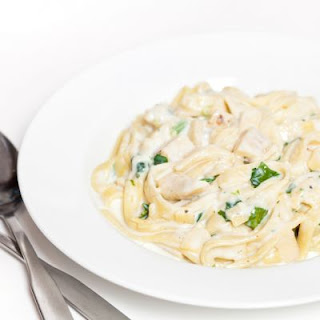 Chicken Fettuccine with Cream Cheese Alfredo.