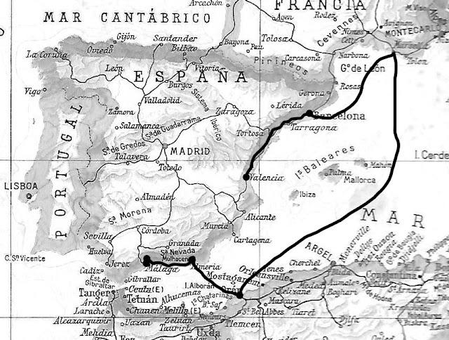 Trayecto de la familia Pomares hasta finales de enero de 1938 (Autoría: Sonia Cervantes).