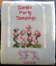 Photo: Completed 2 Apr 2008. This is the commemorative kit from the 2008 Stitching Friends Retreat - Garden Party Samplings put on by A Stitcher's Garden. This is a design by Gail (2008); it's her first design. Stitched on 32ct Ice Blue linen with DMC. Stitch count: 63w x 73h.