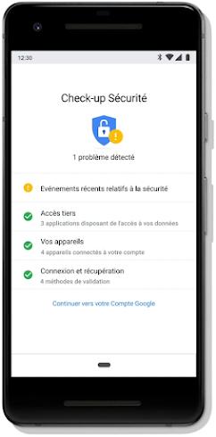 """Écran """"Check-up Sécurité"""" du compte Google sur un mobile"""