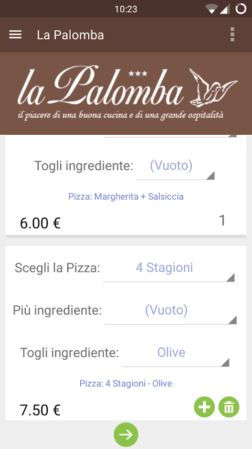 Ordina Pizza - La Palomba- screenshot