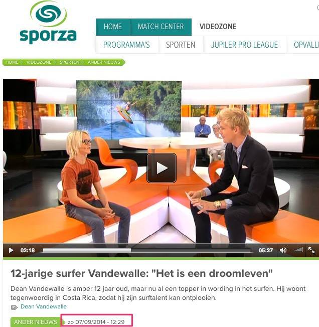 Sporza (Belgian National Television) September 2014