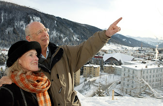 Photo: DAVOS/SWITZERLAND, 19JAN04 - Klaus and Hilde Schwab captured during a short walk above snowy Davos before the Annual Meeting 2004 of the World Economic Forum in Davos, Switzerland, January 21, 2004. 