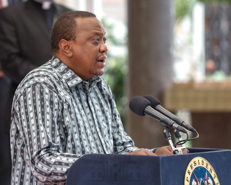 President Uhuru Kenyatta during the 9th Presidential address on the Coronavirus pandemic at Harambee House, Nairobi on July 6, 2020.