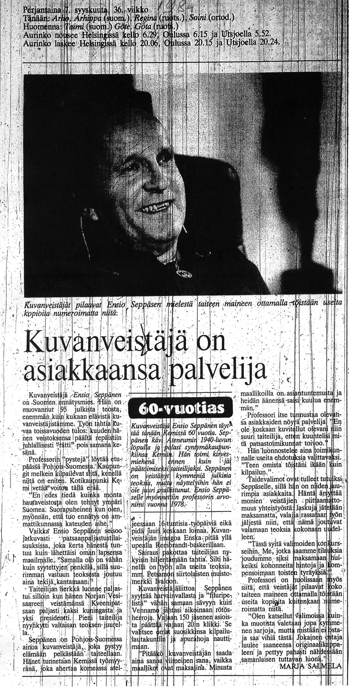 """Photo: """"Kuvanveistäjä Ensio Seppänen on Suomen ennätysmies. Hän on muovannut 95 julkista teosta, enemmän kuin kukaan muu elävistä kuvanveistäjistämme."""" Helsingin Sanomat, 7 syyskuuta 1984.   http://fi.wikipedia.org/wiki/Ensio_Sepp%C3%A4nen http://c0027077.cdn1.cloudfiles.rackspacecloud.com/57c8f9b049e78a0a2498b099ed2a59eb.pdf http://www.kuvataiteilijamatrikkeli.fi/fi/taiteilijat/1336  http://patsaanmetsastaja.blogspot.fi/2012/10/ensio-seppanen-ja-miten-kaikki-alkoi.html"""