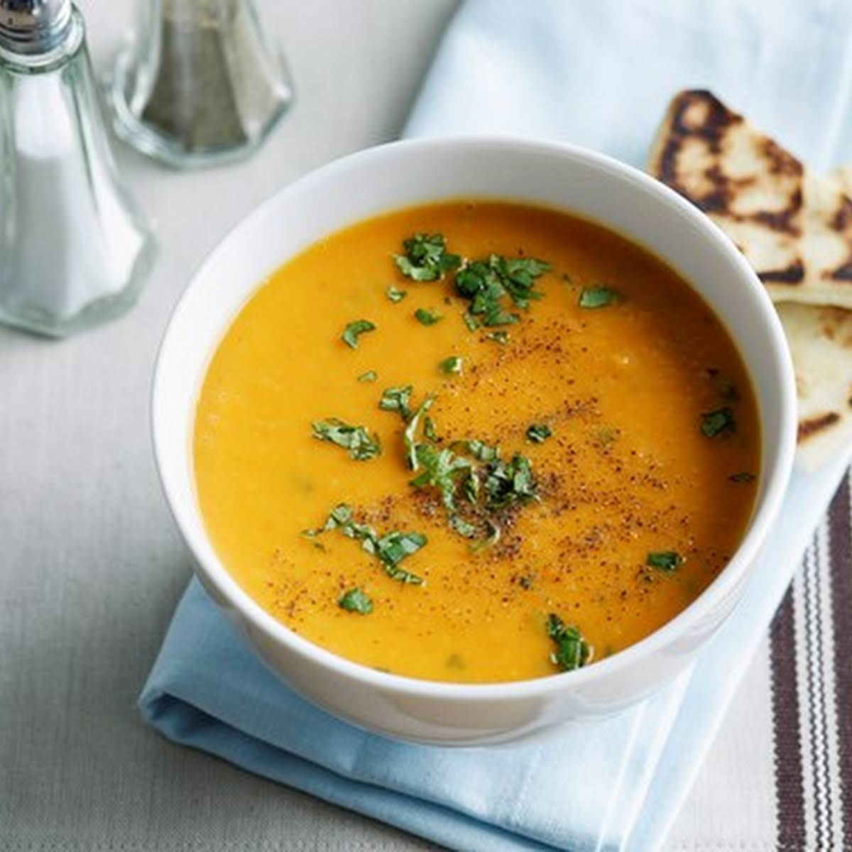 Roast Sweet Potato, Red Curry, Coriander And Coconut Soup