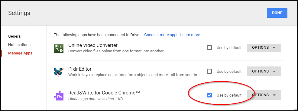 Read&Write for Google Chrome Use by Default