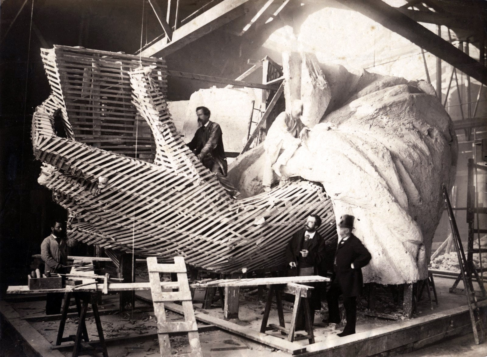 Albert Fernique, Construction of the skeleton and plaster surface of the left arm and hand of the Statue of Liberty