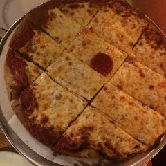 Gluten Free thin crust pizza with pepperoni (it's underneath the cheese)!!!