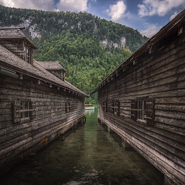 Königssee by Ole Steffensen - Buildings & Architecture Other Exteriors ( mountains, königssee, boats, cabins, germany, lake, salzkammergut )