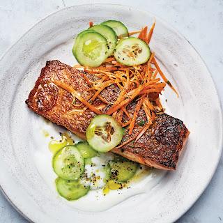 Salmon with Cucumber–Yogurt Sauce and Carrot Salad