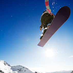 Airborn snowboarder by Ben Heys - Sports & Fitness Snow Sports ( ride, skiing, boarder, mountain, jumping, travel, sun, alpine, adventure, sky, nature, riding, lifestyle, snow, action, snowboarder, snowboard, ski, extreme, airborne, white, sport, fun, board, new zealand, jump, skier, holiday, winter, vacation, blue, outdoor, cloud, air, view, snowboarding, outside )